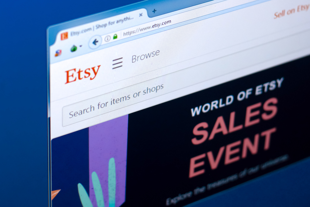 Etsy website screen