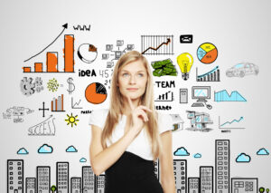 businesswoman planning marketing strategies