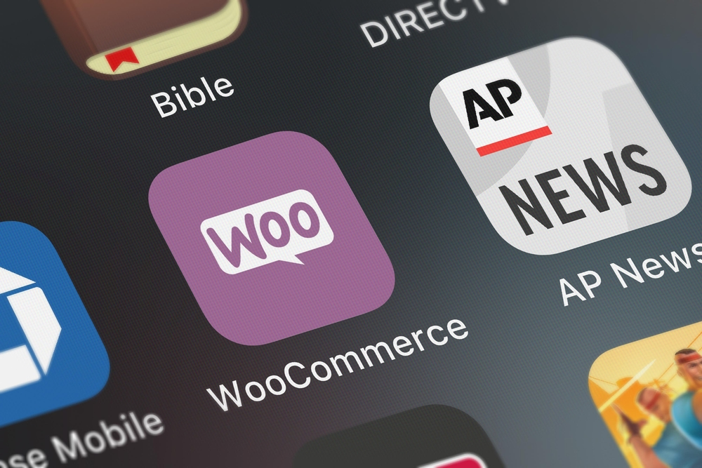 Close-up shot of the WooCommerce application icon on an iPhone.