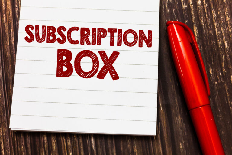 Conceptual hand writing showing Subscription Box.