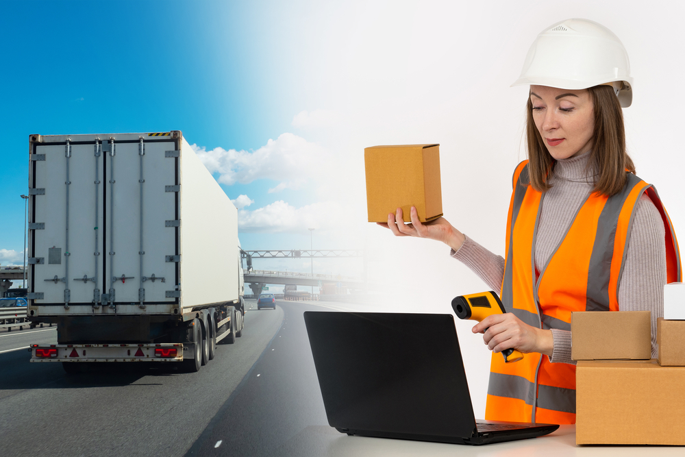 Order fulfillment process. Woman is engaged in processing and dispatch of orders. Girl with boxes and laptop. Logistic woman next to truck. She prepares goods for Logistic shipment. Truck on highway